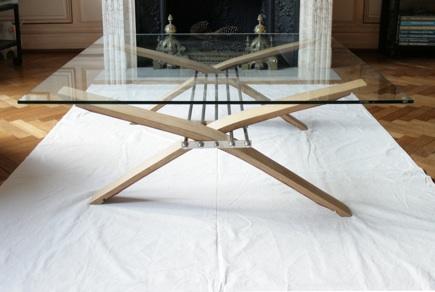Galerie table basse - Table salon verre et bois ...